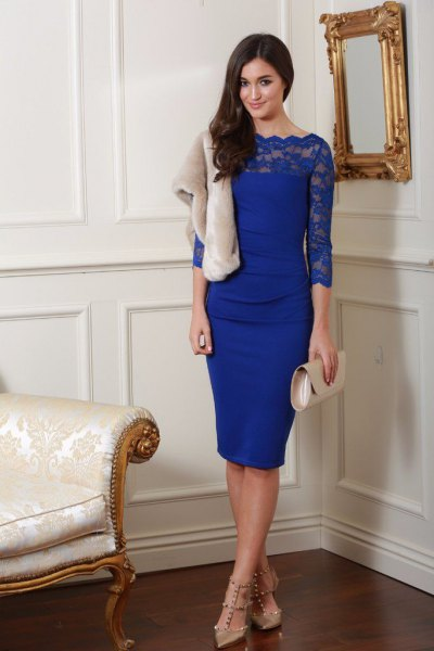 blue scalloped neckline three quarter sleeve bodycon midi dress