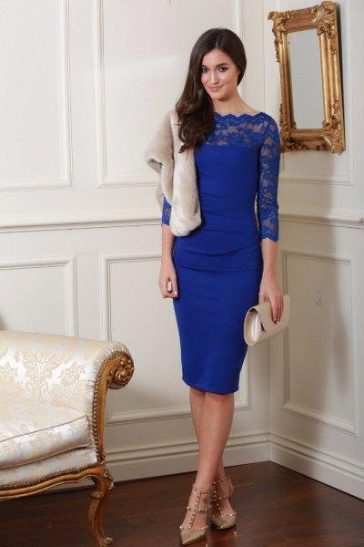blue scalloped neckline three quarter sleeve bodycon midi dress