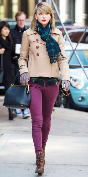 blush pink short wool coat with purple skinny jeans
