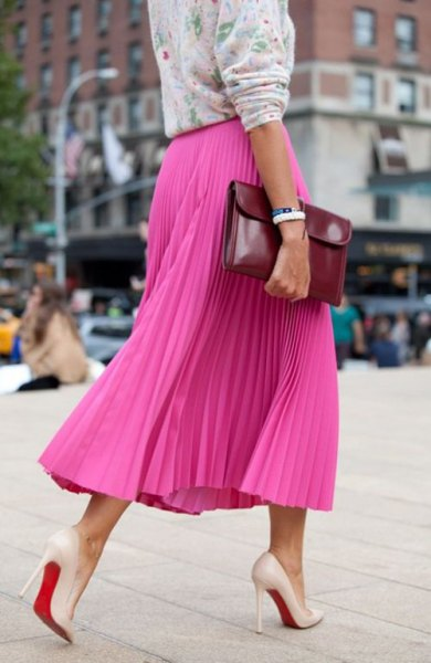 blush printed sweater with hot pink maxi pleated skirt