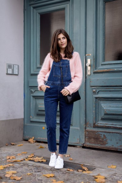blush sweater with blue denim overall