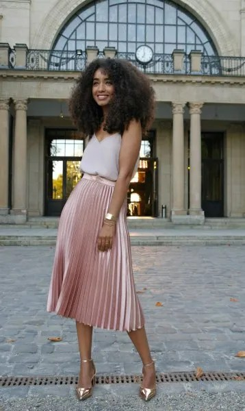 blush v neck vest top with pink velvet midi pleated skirt