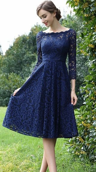 boat neck long sleeve fit and flare lace dress
