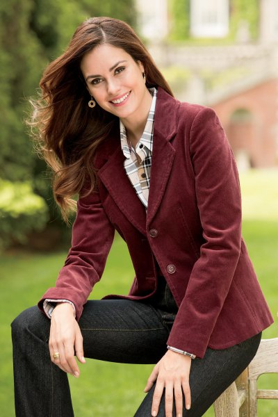 brown blazer with pink and white plaid button up shirt