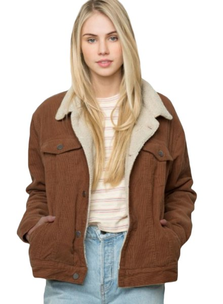 brown faux fur corduroy blazer with white and grey striped tee
