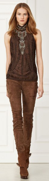 brown halter top with suede skinny jeans