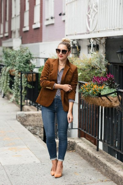 brown oversized corduroy blazer with black and white striped polo shirt