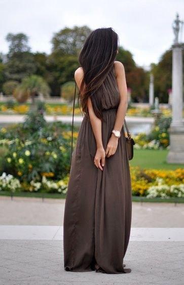 brown pleated gathered waist maxi breezy dress