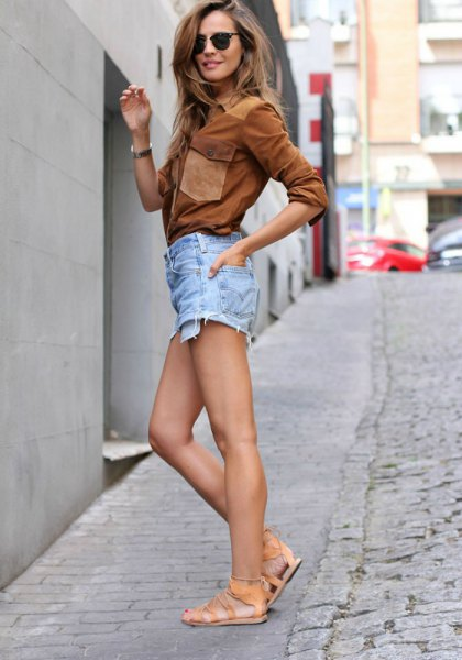 brown suede shirt with light blue denim mini shorts