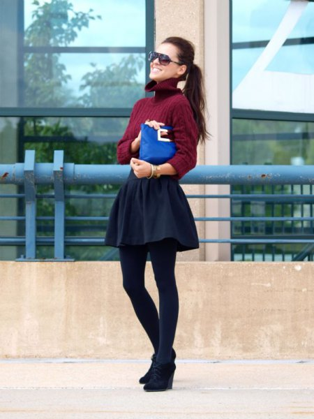 burgundy turtleneck cable knit sweater with skater skirt and black wedge booties