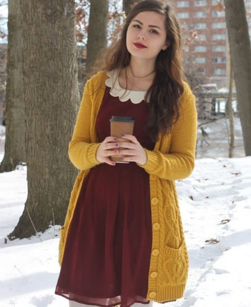 cable knit long sweater with burgundy chiffon flared mini dress