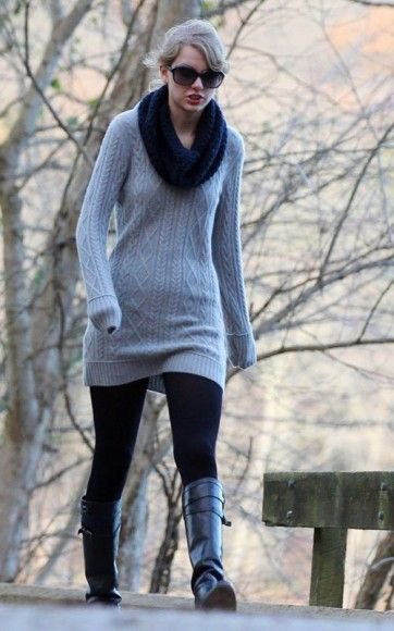 cable knit sweater dress with black infinity scarf
