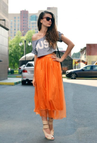 chiffon midi high low skirt with one shoulder print tee