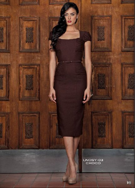 chocolate brown belted midi dress