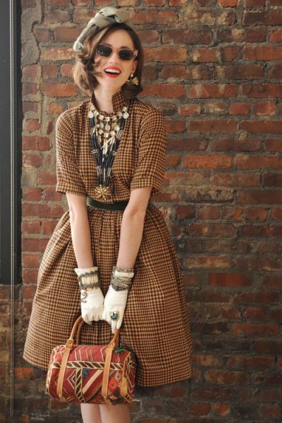 chocolate plaid fit and flare vintage midi dress