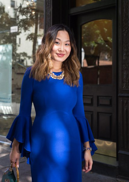 cobalt blue bell sleeve bodycon midi dress