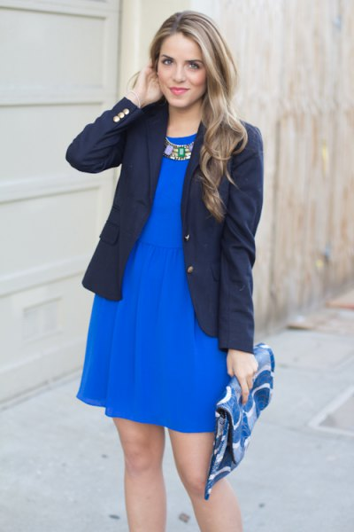 cobalt blue mini skater dress with black blazer