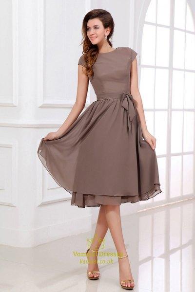 coffee brown cap sleeve midi chiffon bridesmaid dress