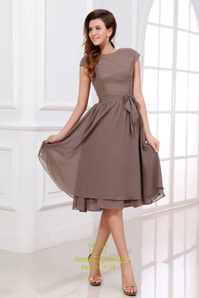 coffee brown cap sleeve midi chiffon bridesmaid dress