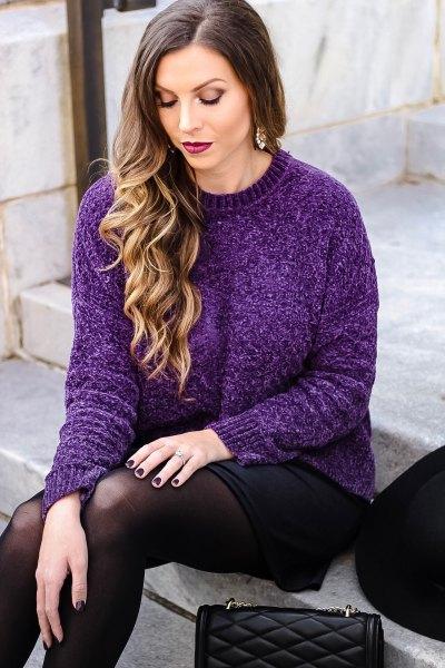 crew neck sweater with black mini skirt