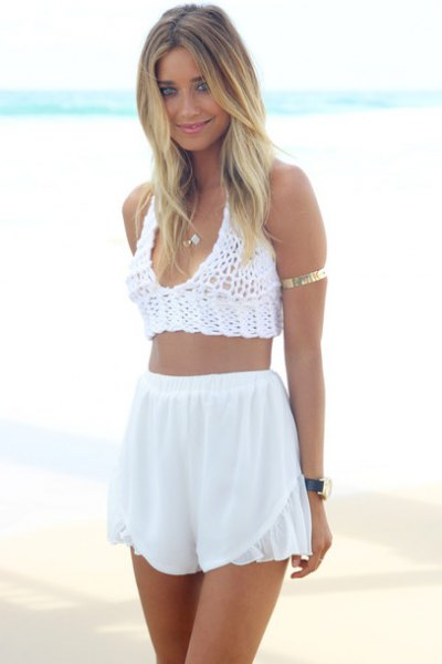 crochet knit crop top with white high waisted chiffon shorts