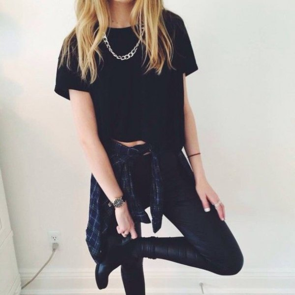 cropped black tee with leather leggings