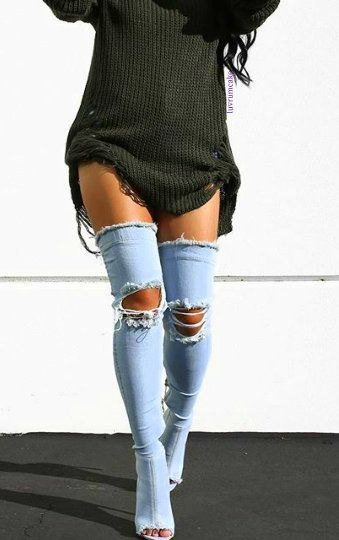 dark grey ripped sweater dress with blue denim ripped open toe long boots