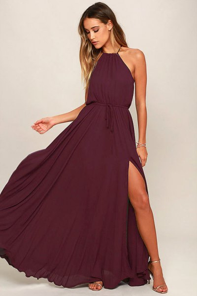deep purple halter neck gathered waist maxi flared dress
