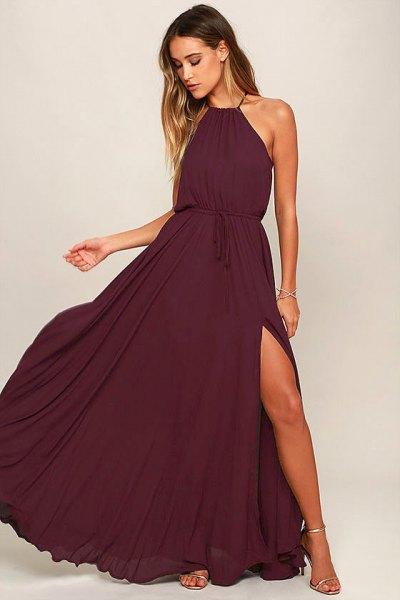 deep purple halter neck gathered waist maxi flared dress