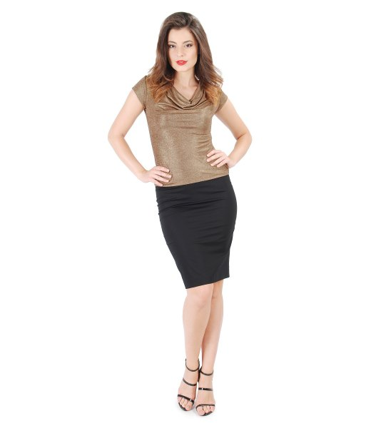 gold cowl neck short sleeve top with black mini skirt