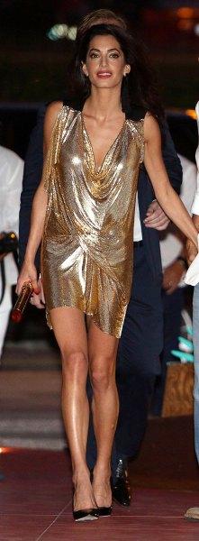 gold deep neck mini lame dress