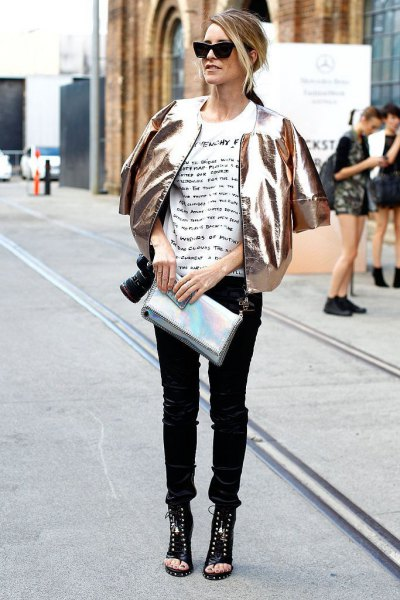 gold metallic bomber jacket with white print tee