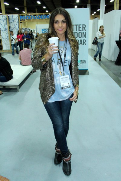 gold relaxed fit sequin jacket with white print tee