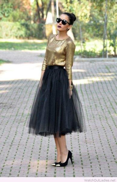 golden blouse with black midi tulle skirt