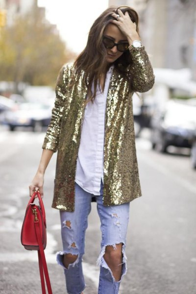 golden oversized sequin blazer with white shirt and boyfriend jeans