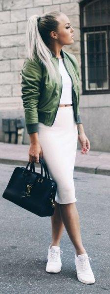 green jacket with white two piece midi dress