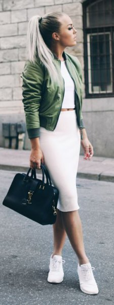 green jacket with white two piece midi dress