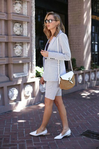 grey blazer with matching shorts and white leather flat shoes