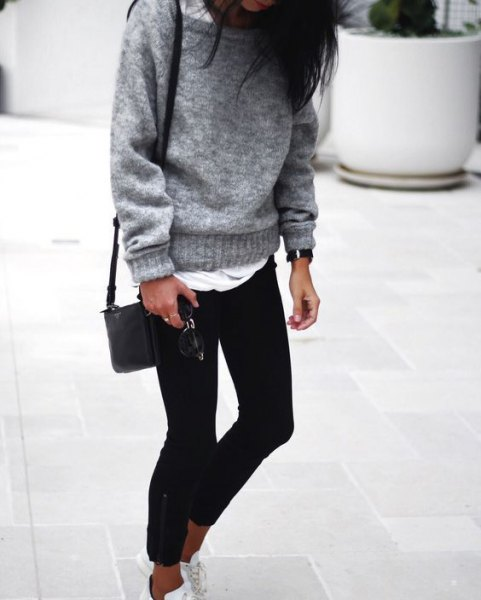 grey boat neck chunky sweater over white long tee
