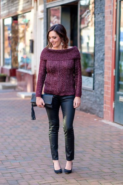 grey boat neck sweater with jeans and ballet heels