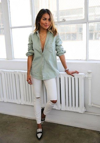 grey button up shirt with ripped jeans and white pointed toe leather shoes
