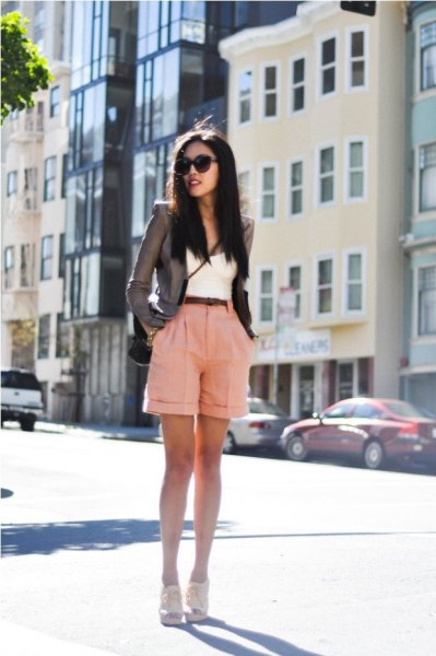grey fitted blazer with hot pink cuffed shorts