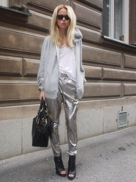 grey hooded cardigan with silver metallic pants
