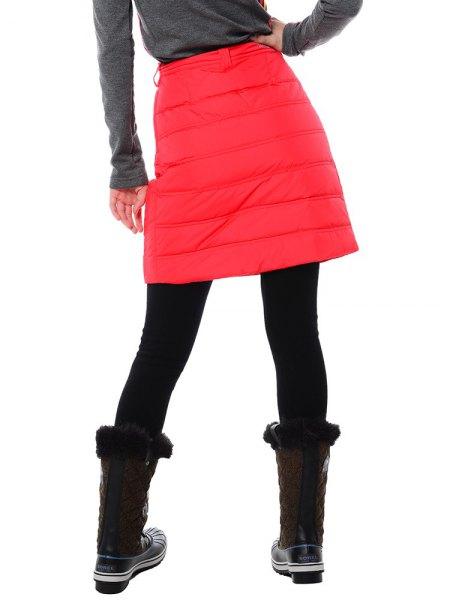 grey long sleeve tee with red mini skirt