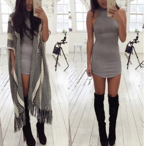 grey mini halter dress with over the knee black boots