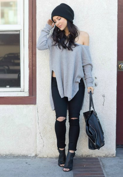 grey one shoulder oversized sweater with black leather ankle boots