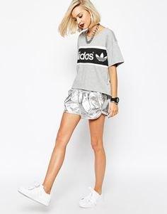 grey print tee with metallic running shorts