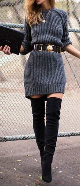 grey ribbed belted sweater dress with thigh high boots