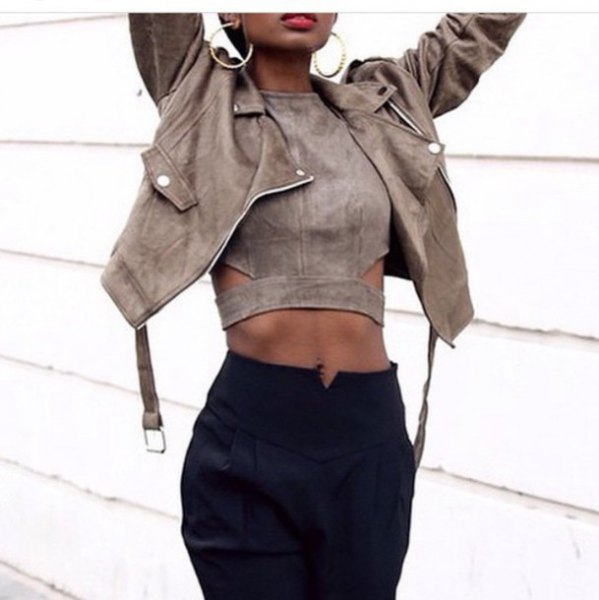 grey suede crop top with matching leather jacket