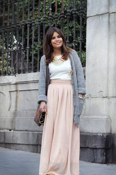grey sweater cardigan with blush pink maxi linen skirt